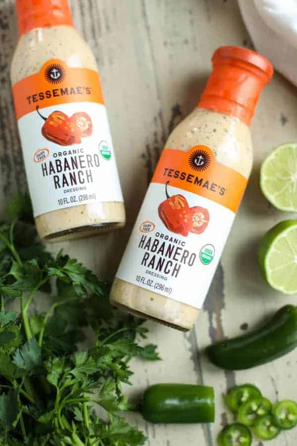 Tessemae's Organic Habanero Ranch Dressing on a table