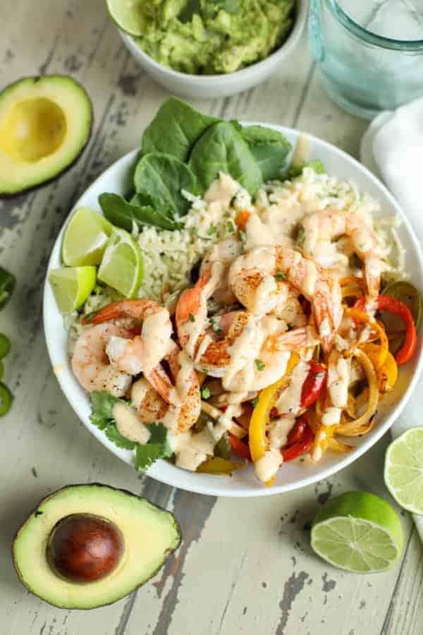 One-Pan Shrimp Fajita Bowls in a white bowl