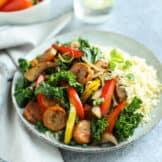 Grilled Chicken Sausage and Veggies over Cauliflower Rice