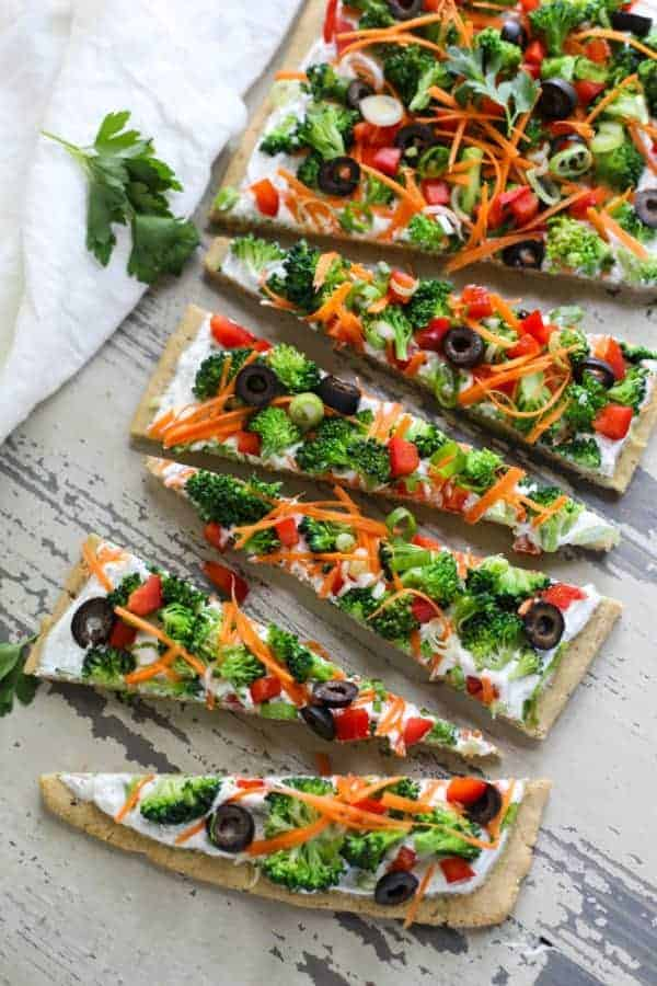 Gluten-free Veggie Pizza on a table