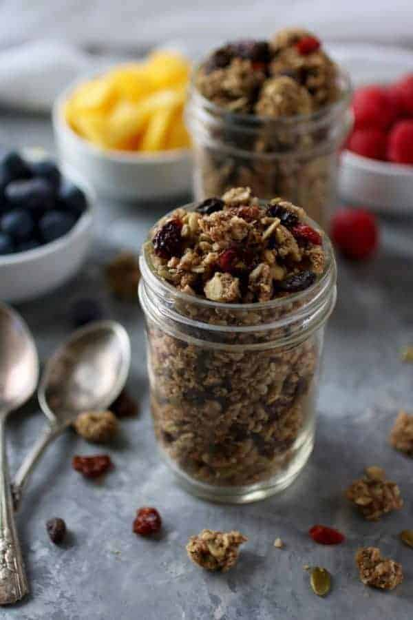 Side view of Crunchy Nut-free Paleo Granola in a mason jar