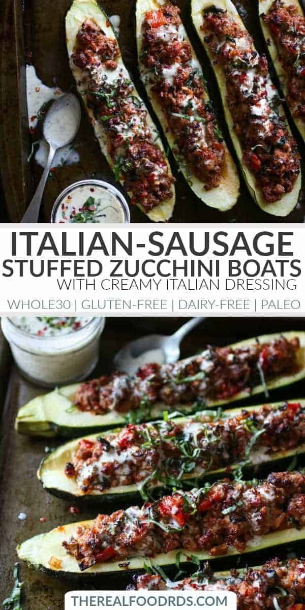 Pinterest image for Italian-Sausage Stuffed Zucchini Boats