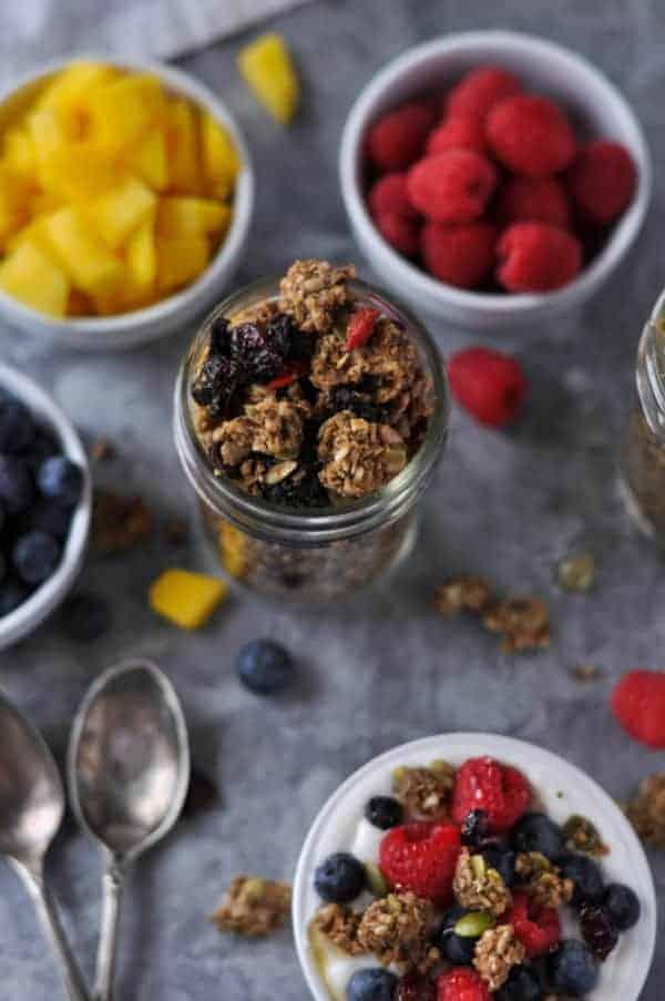 Crunchy Nut-free Paleo Granola in a mason jar
