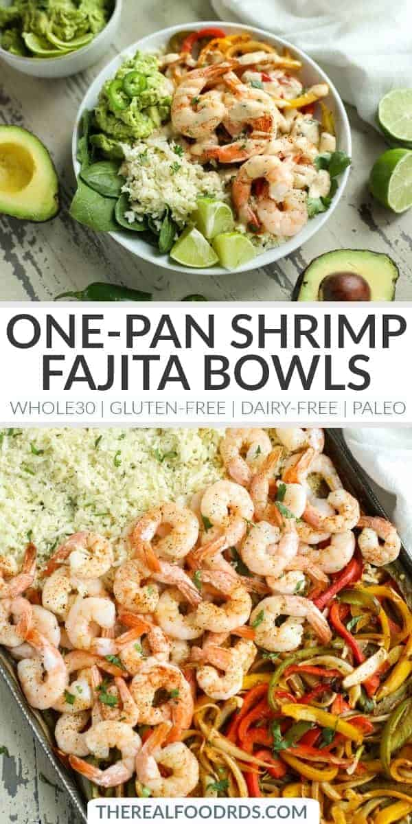 Pinterest image for One-Pan Shrimp Fajita Bowls