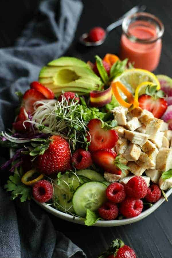Berry Protein Salad Bowl in a white bowl