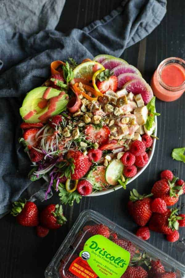 Berry Protein Salad Bowl with vinaigrette drizzled on top