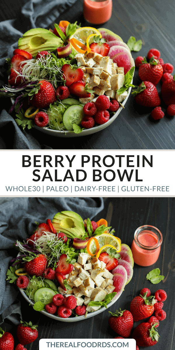 Pinterest image for Berry Protein Salad Bowl