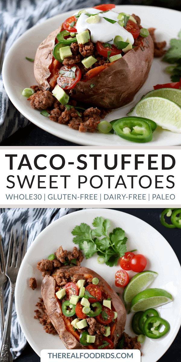 Pinterest image for Taco-Stuffed Sweet Potatoes