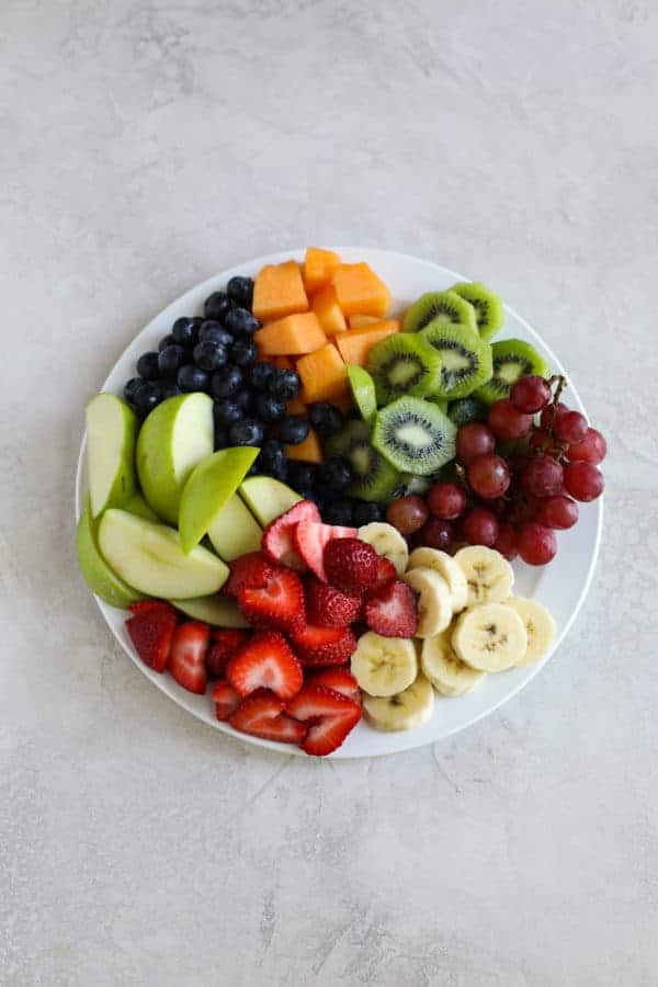 mixed fruit on white plate for #800g Challenge