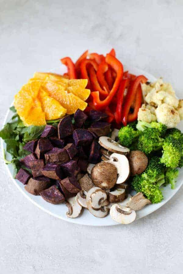 Mixed vegetables on a plate for the #800g Challenge