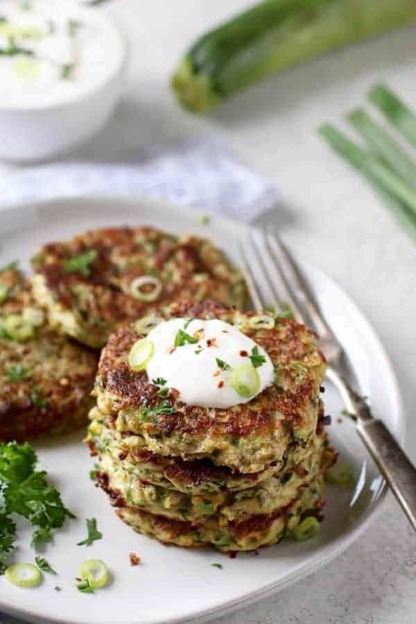 Savory Zucchini Fritters on a white plate