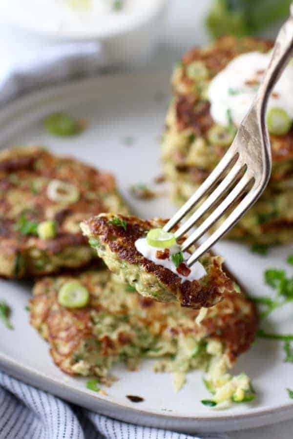 Savory Zucchini Fritters on a fork