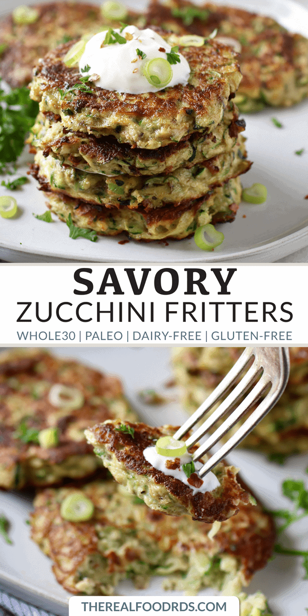 Pinterest image for Savory Zucchini Fritters