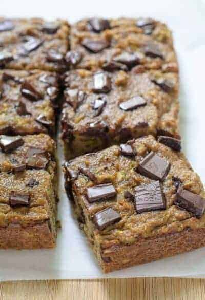 Paleo Chocolate Chip Zucchini Brfead cut into squares