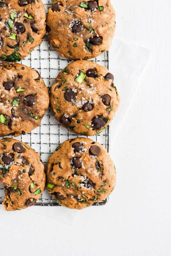 Healthy Chocolate Chip Cookies with Spinach, Carrots, and Zucchini on a cooling wire rack