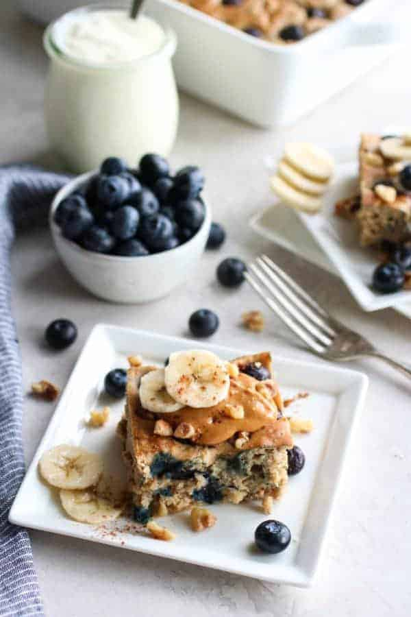 Blueberry Banana Walnut Muffin Bar on a white plate