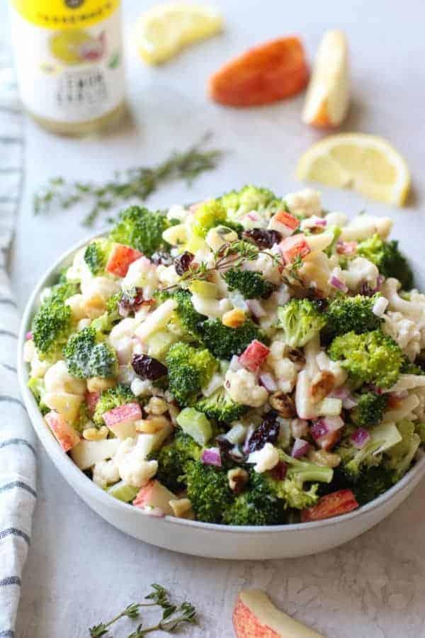 Apple Broccoli Cauliflower Salad in a white bowl