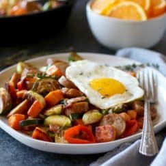 Chicken & Apple Sausage Sweet Potato Hash