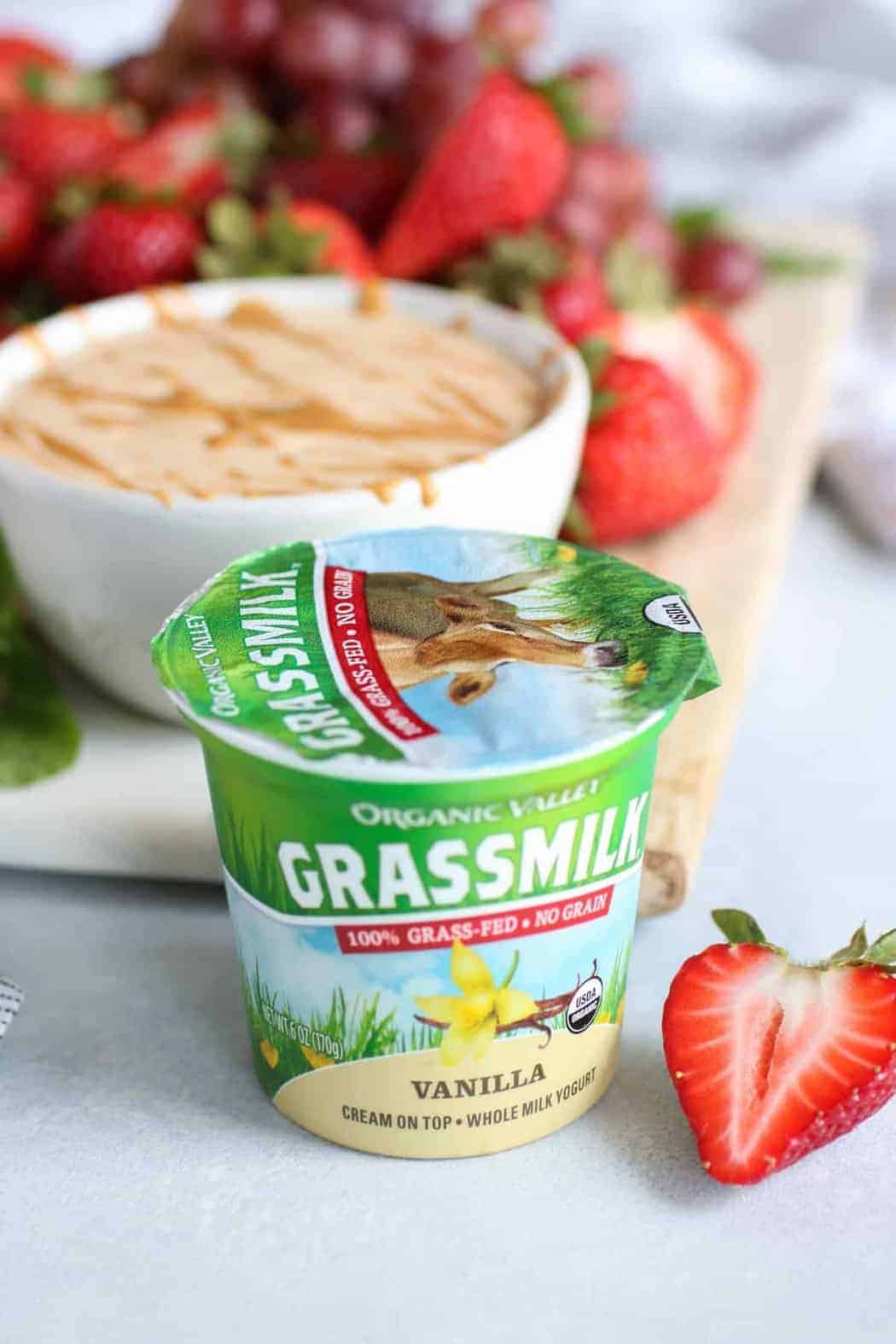 Organic Valley Grassmilk Vanilla flavored yogurt