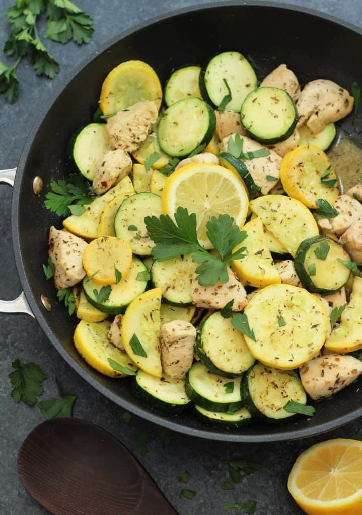 Whole 30 Lemon Chicken and Squash Skillet in a skillet