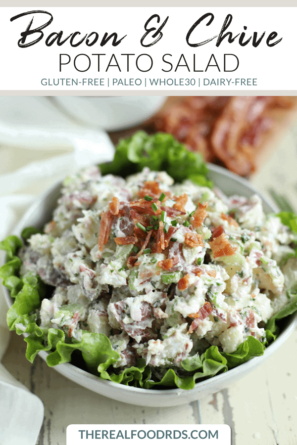 Pinterest image for Bacon & Chive Potato Salad