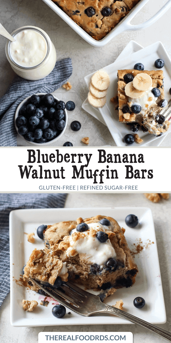Pinterest image for Blueberry Banana Walnut Muffin Bars