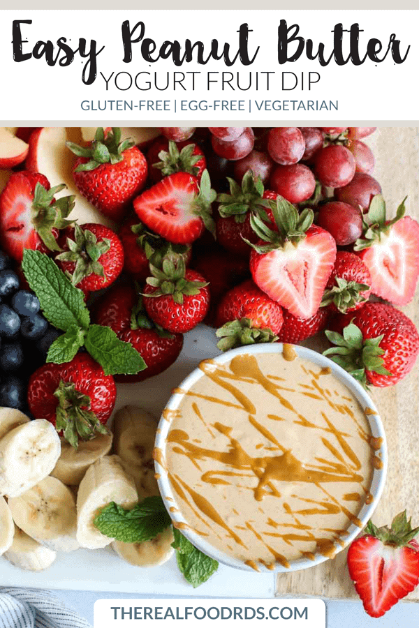 Pinterest image for Easy Peanut Butter Yogurt Fruit Dip