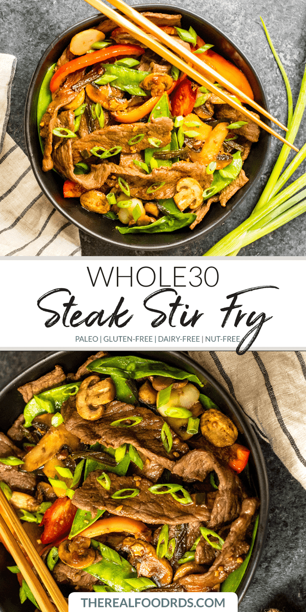Pinterest image for Whole30 Steak Stir-Fry