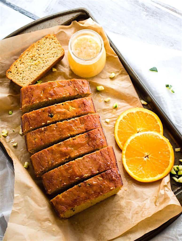 Zesty Orange Cream Paleo Zucchini Bread on a cookie sheet