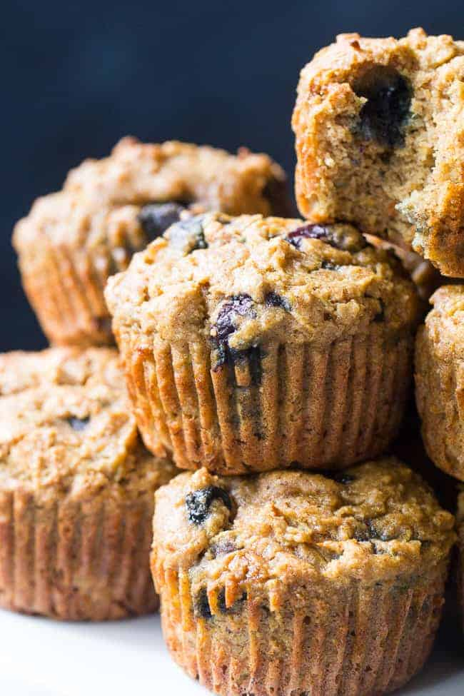 Blueberry Zucchini Muffins stacked