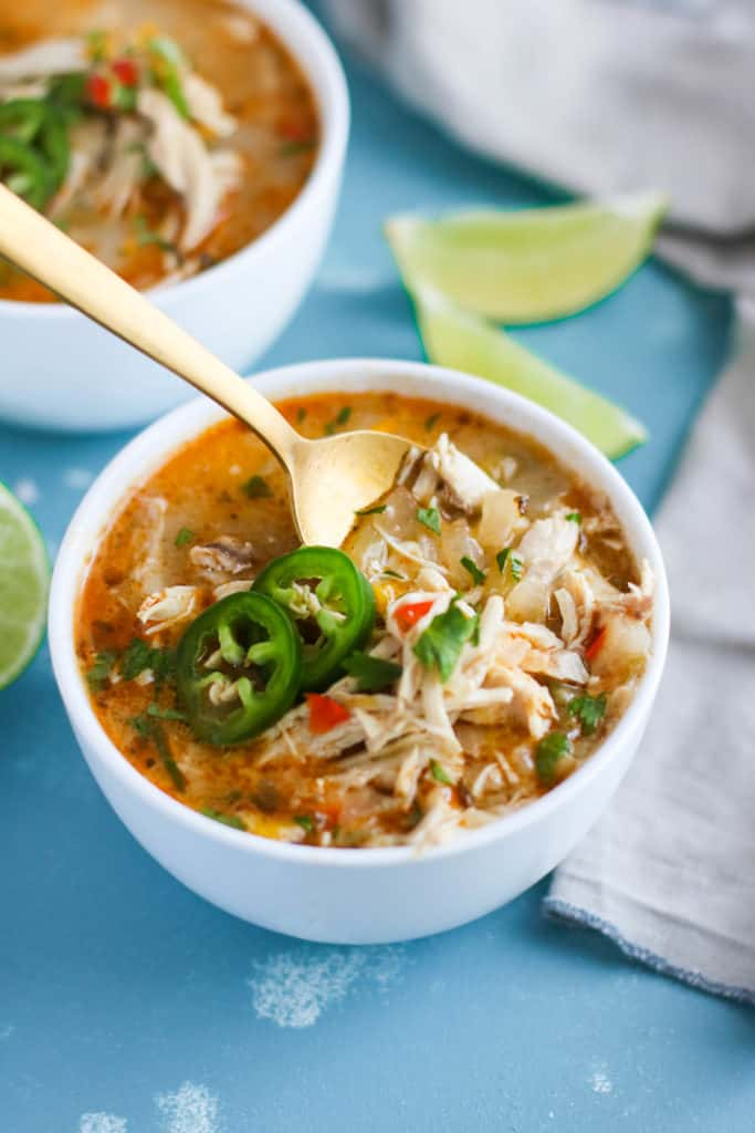 Slow Cooker White Chicken Chili in white bowls