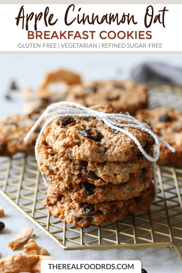 Pinterest image for Apple Cinnamon Breakfast Oat Cookies