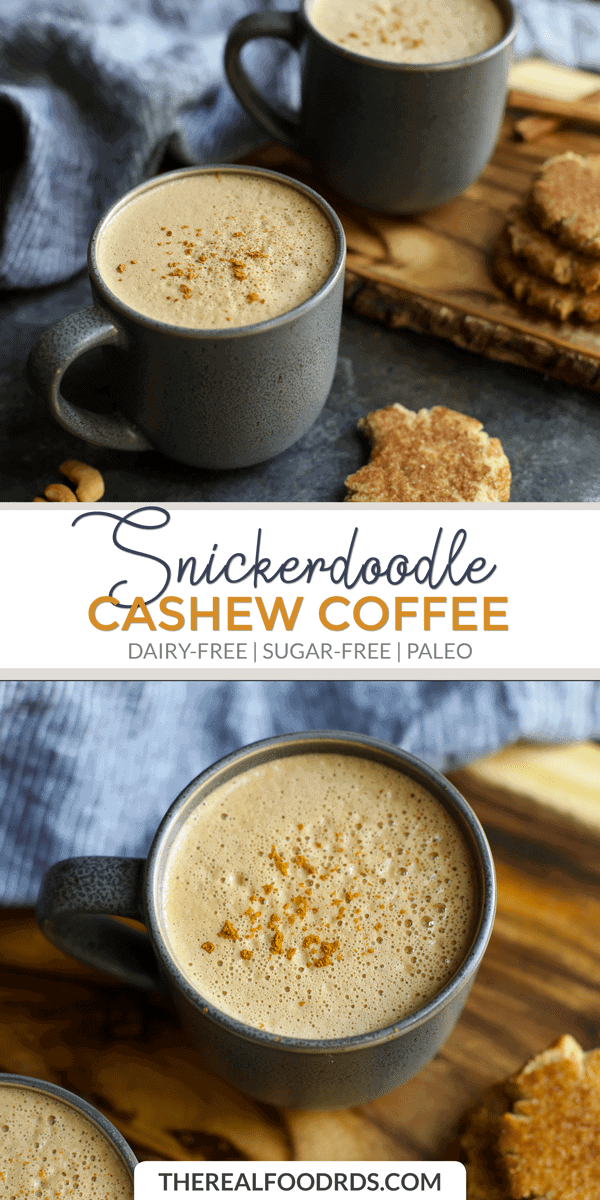 Pin image for Snickerdoodle Cashew Coffee.
