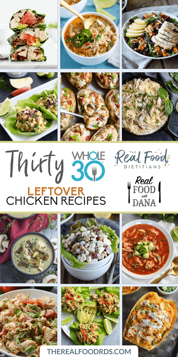 Pinterest image for Thirty Whole30 Leftover Chicken Recipes