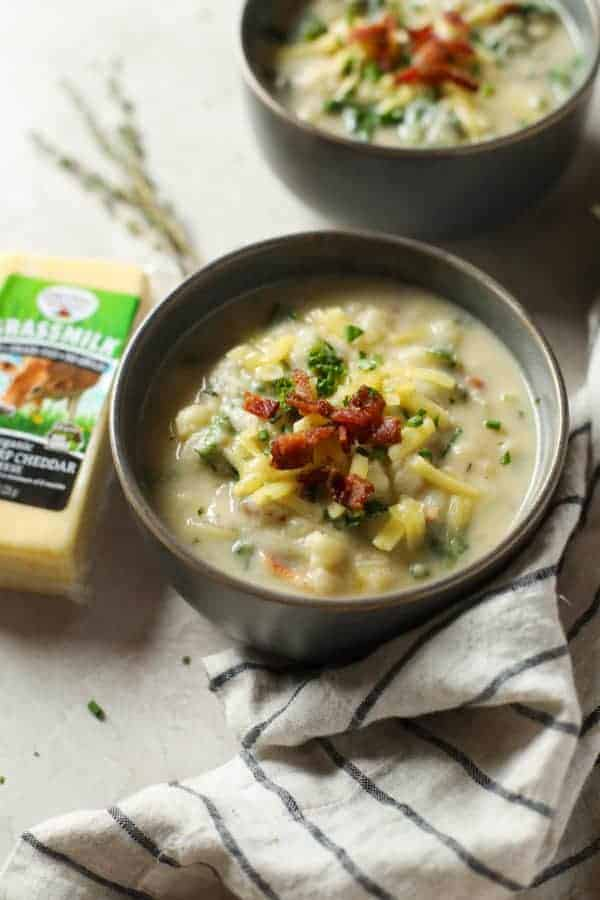 Loaded Cheesy Cauliflower Soup in a bowl