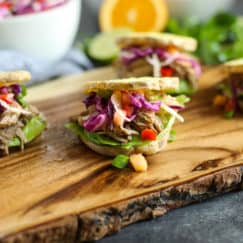 Slow Cooker Citrus Herb Pork Sliders with Pineapple Salsa Slaw