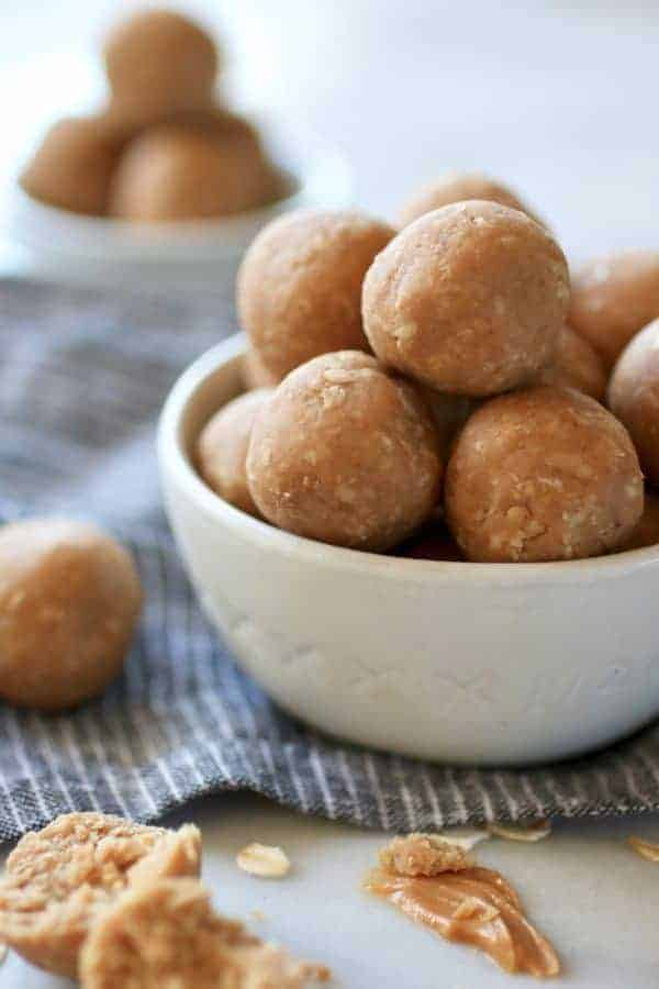 3-Ingredient Peanut Butter Bites in a white bowl