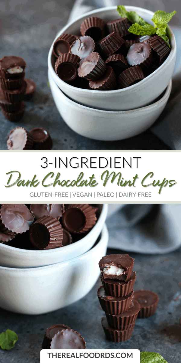 Long Pinterest image for 3-ingredient Dark Chocolate Mint Cups