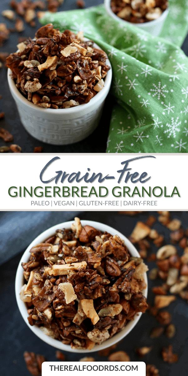Long Pin Image for Grain-free Gingerbread Granola
