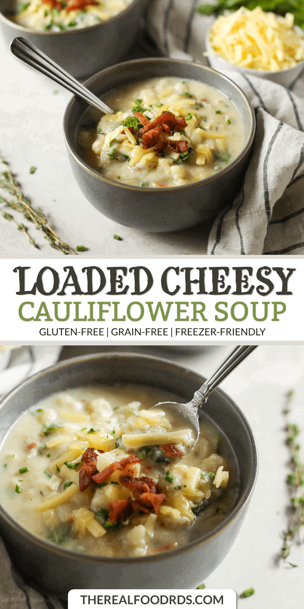 Long Pin Image for Loaded Cheesy Cauliflower Soup