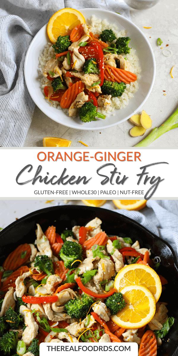 Long Pin Image for Orange-Ginger Chicken Stir Fry