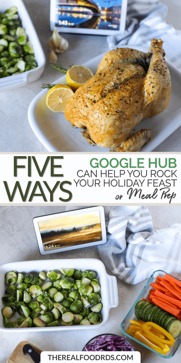 Long Pin Image for Five Ways Google Hub can Help you Rock your Holiday Feast or Meal Prep!