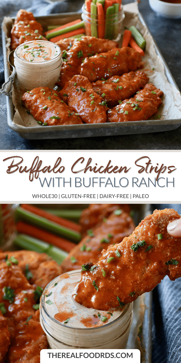 Long Pin image for Buffalo Chicken Strips with Buffalo Ranch (Whole30)