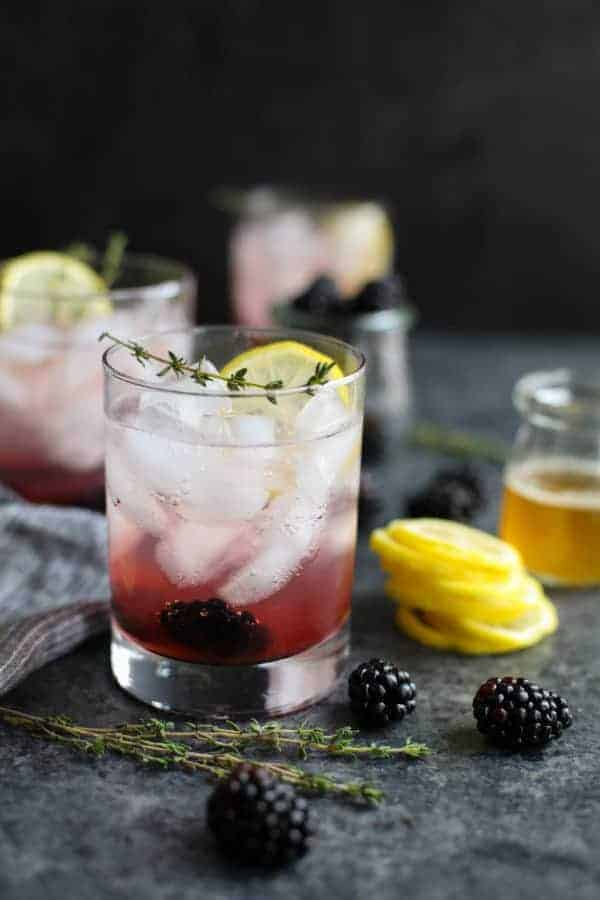 Blackberry Lemon Thyme Sparkler on a table