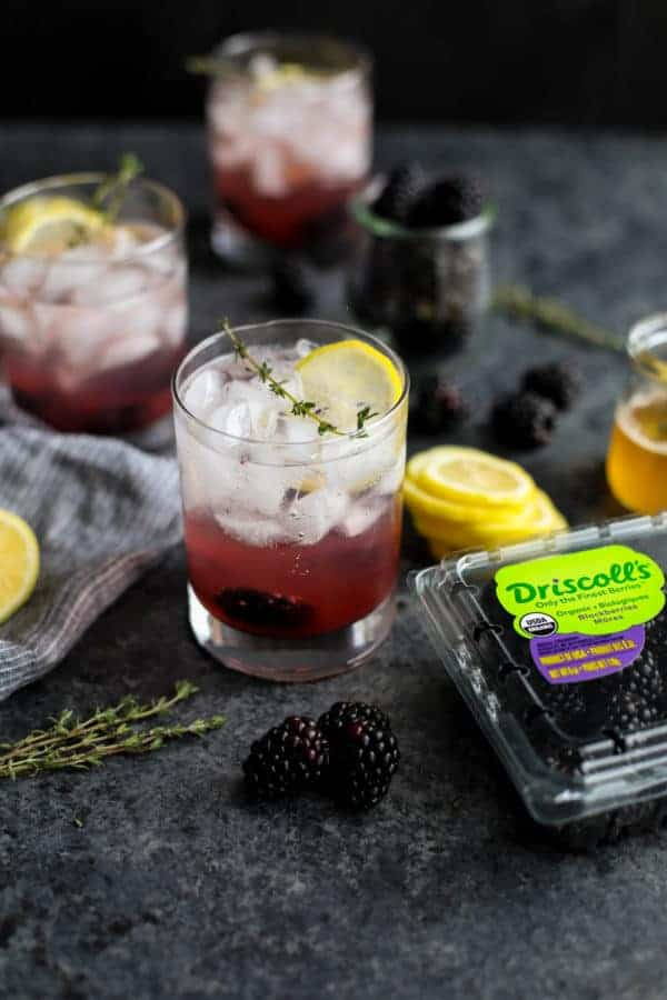 Blackberry Lemon Thyme Sparklers on a table