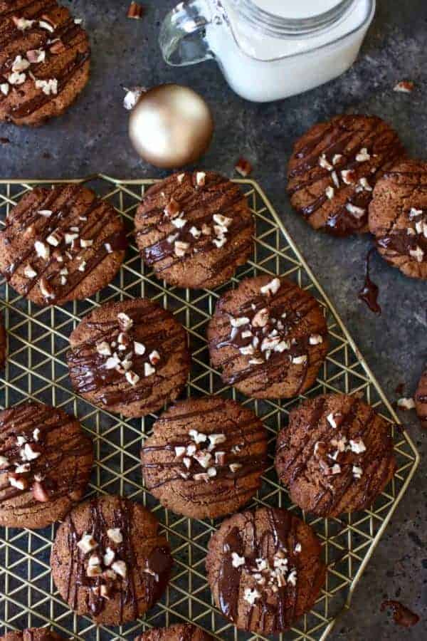 Overhead view of Paleo Soft Batch Ginger Molasses Cookies on a cooling rack