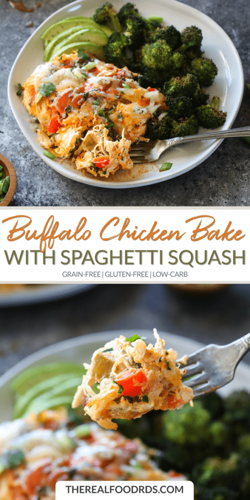 Long Pin Image for Buffalo Chicken Bake with Spaghetti Squash