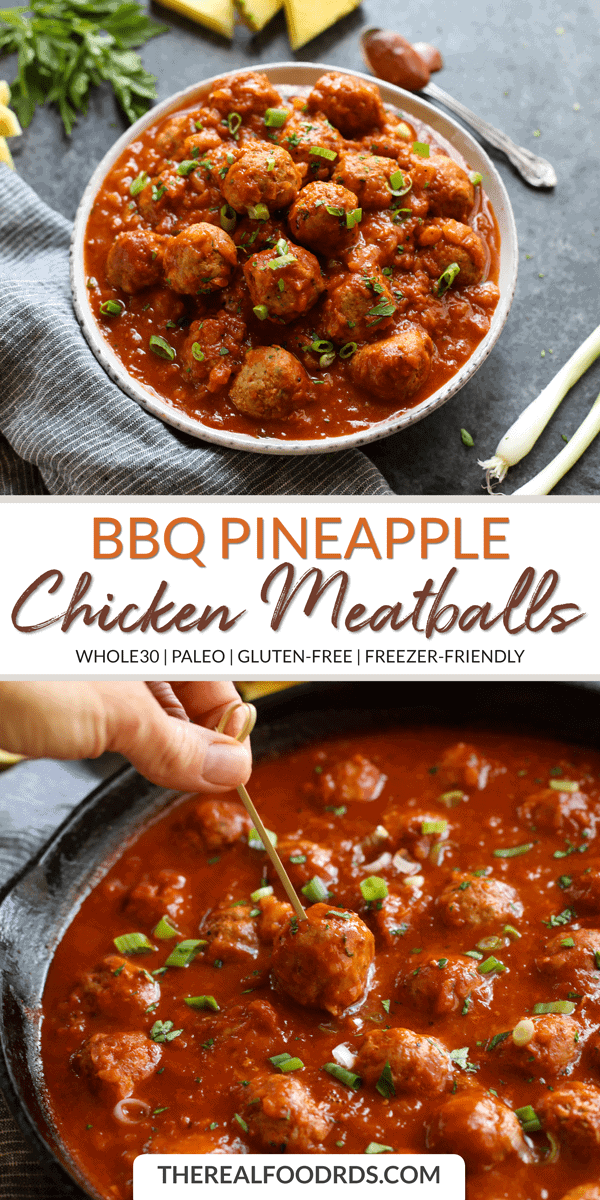 Long Pin Image of BBQ Pineapple Chicken Meatballs