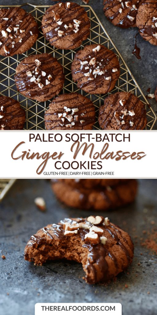 Long Pin image for Paleo Soft-Batch Ginger Molasses Cookies