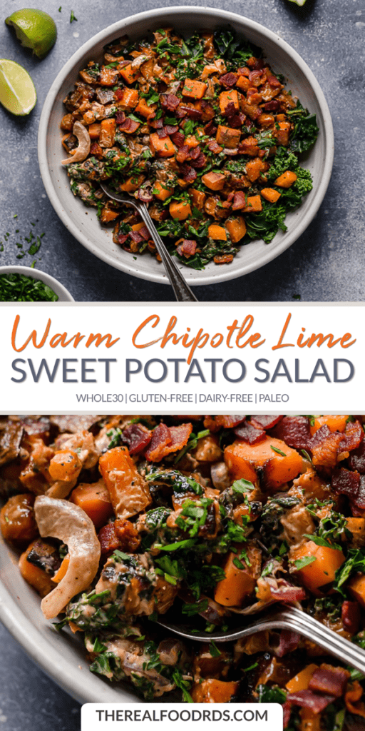 Long Pin Image for Warm Chipotle Lime Sweet Potato Salad